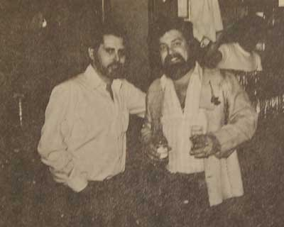 Spyros Peter Goudas (hand in pocket) with Artie MacLaren 1978.  Mr. Goudas went on to explain that on a few occasions, he booked Artie MacLaren and that he was a Brodland recording artist and composer of over 400 songs.  Also, that he was from St. Peter's Bay, P.E.I., a real East Coaster.  He further added that Mr. Artie MacLaren was one of the exceptional personalities and performers at the time.   Many people really did not know that Artie MacLaren's material has been recorded by other artists such as, Orval Prophet, Brent Williams, Dick Nolan, Glen Logan, Wayne Mack, Michael T Wall and Nashville great Porter Waggoner.   He also produced, arranged and composed an album for Doug Loder on Sno-Can Records.