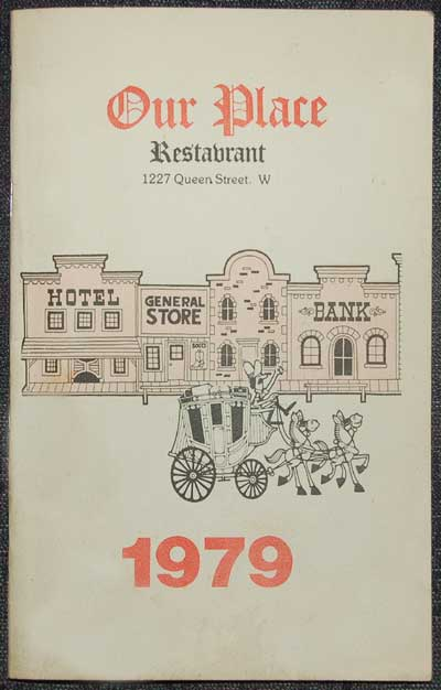 In the 1979, Our Place Restaurant (1227 Queen Street West) Entertainment Programme (which Peter Goudas kept a copy of as a souvenir), we noticed that it was quite thorough in listing the upcoming artists with booking dates and a short description of each individual, groups and/or bands.